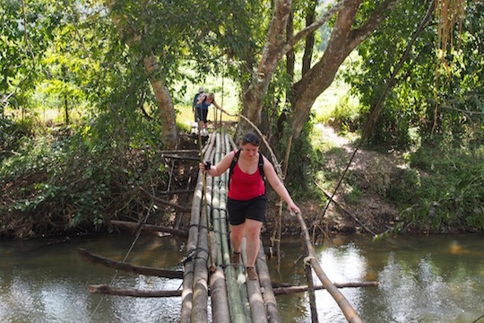 crossing bamboo bridge Mae Wang trekking