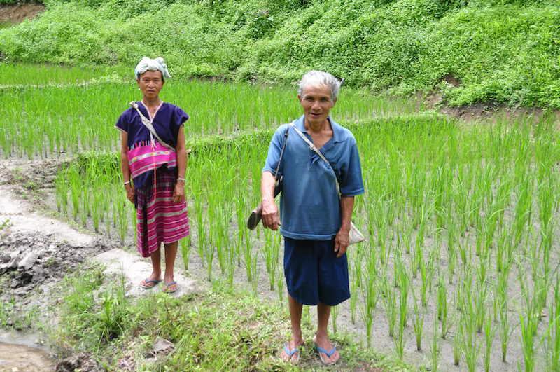 Karen tribe man and woman Mae Wang