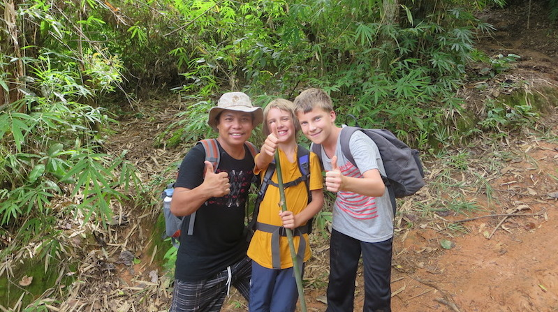 Guide and two boys on Trek
