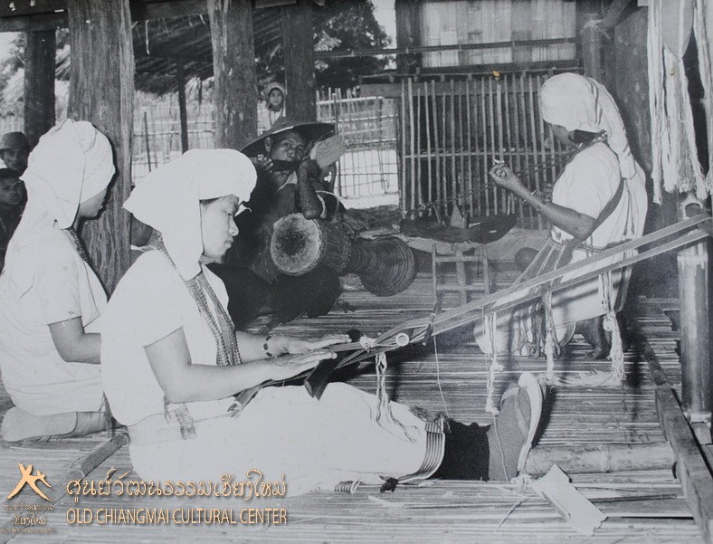 Karen hill tribe women weaving at the Old Chiang Mai Cultural Center.