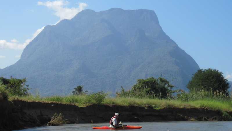Kayaking with Doi Chiang Dao in the background