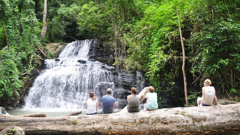 guests at the waterfall