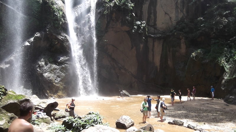 Guests swimming at the Mork Fah Waterfall