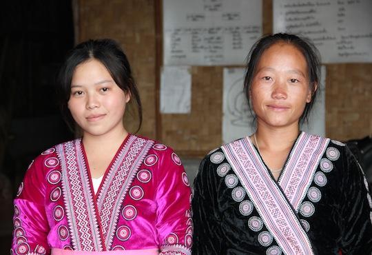 Hmong trekking. Hmong hilltribe women at Baan Mae Sa Mai.