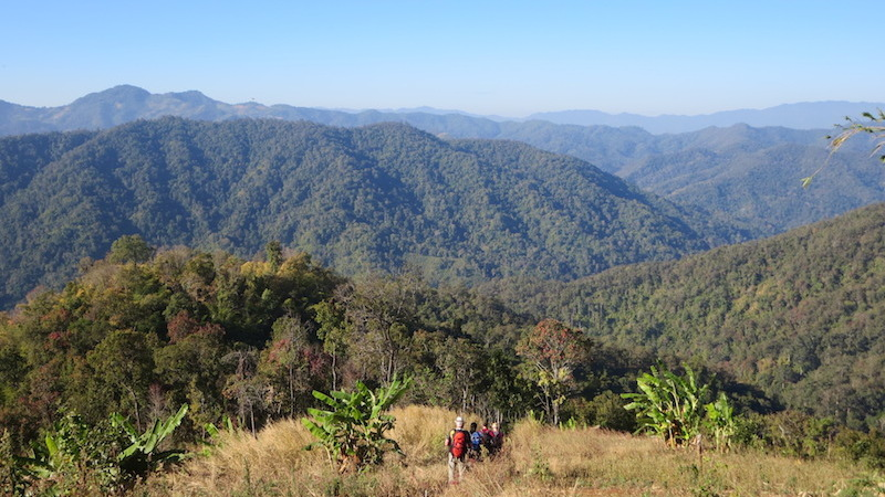 North Thailand landscape with trekkers