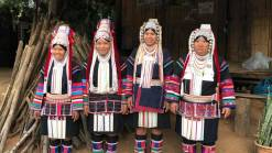 Four Akha women in Chiang Rai Akha hilltribe trekking
