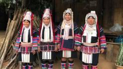 Four Akha women in Chiang Rai Akha hilltribe trekking