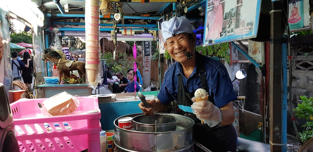 Green Trails local ice cream seller at the Walking Street in Lampang