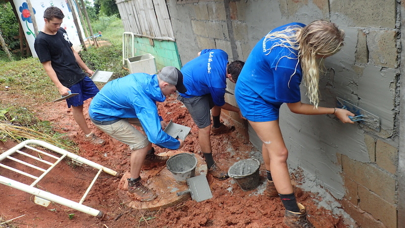 Students doing construction work