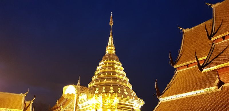 Wat Doi Suthep golden chedi at night Doi Suthep Adventure