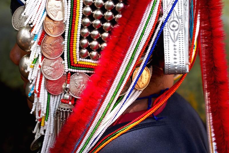 coins and silver of an Akha woman head gear