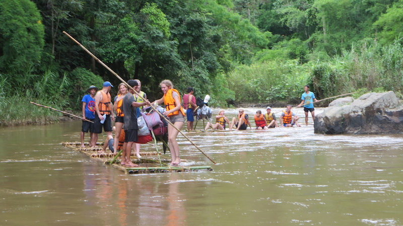 Families on rafts on the Mae Taeng River Chiang Mai Hilltribe trekking
