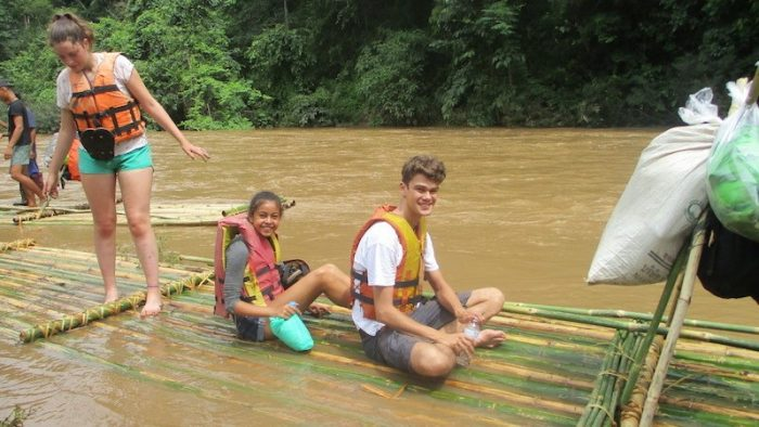Three kids going to raft on the Taeng River