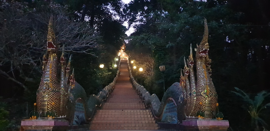 Wat Doi Suthep staircase in the early morning
