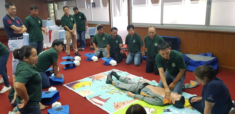 reanimation practice at McCormick Hospital First Aid Course