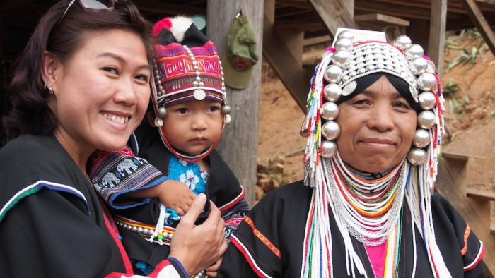 Akha family with tourist in Chiang Dao