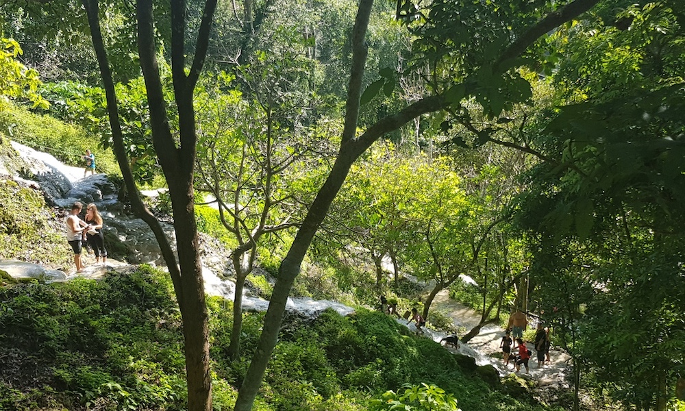 People on Buatong Waterfall scenery