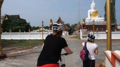 Two guests at a temple Cycling at Doi Saket