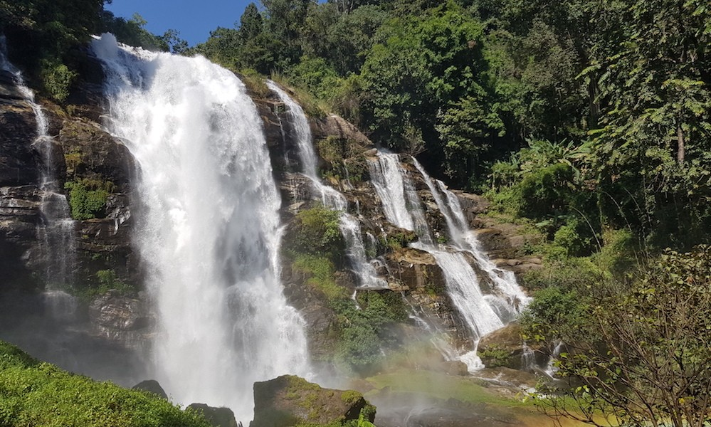 Vachirathan Waterfall with rainbow Doi Inthanon National Park