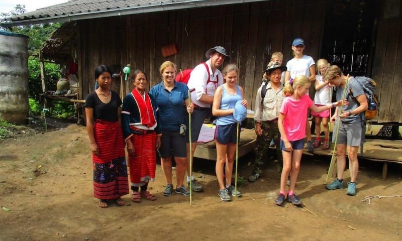 Saying good bye to the host family in Palong village Hilltribe trekking