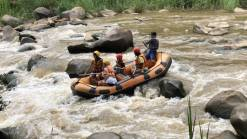 Tourists Whitewater Rafting Mae Taeng