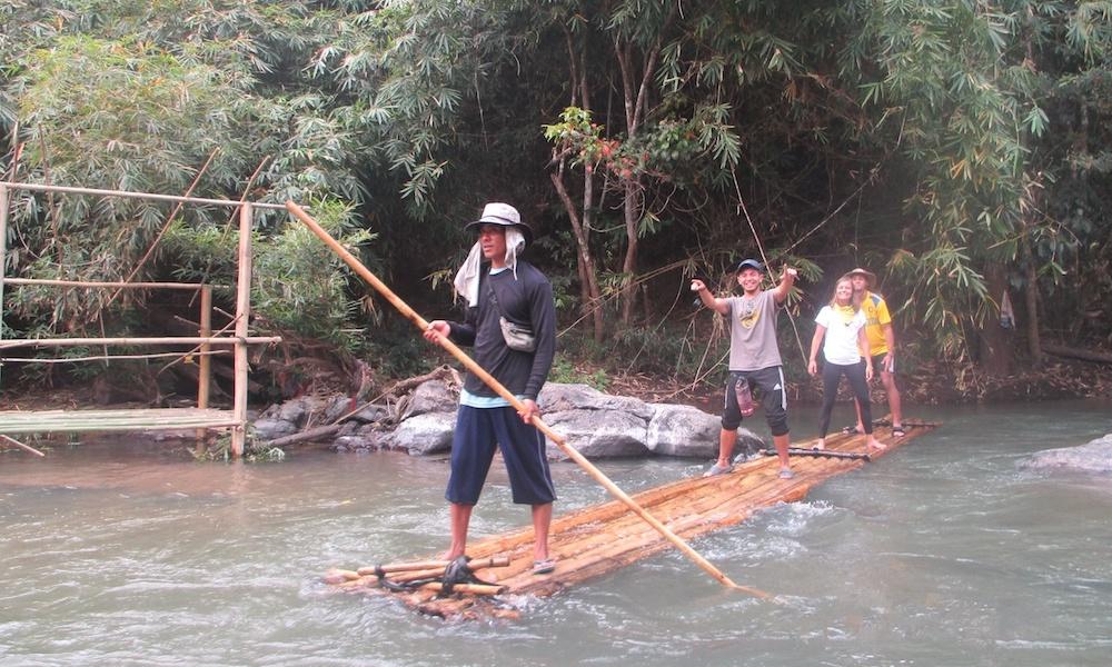 Tourist bamboo rafting Mae Wang