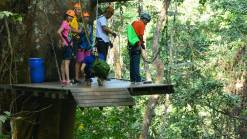 Take off zipline Tourists waiting Chiang Mai Cycling and Zipline Adventure