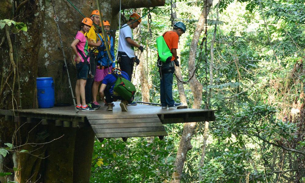 Take off zipline Tourists waiting Chiang Mai Cycling and Zipline Adventure