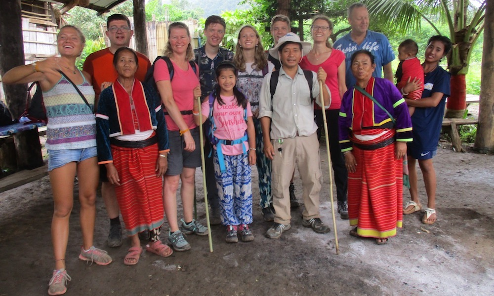 Palong village Leaving our host family trekking chiang dao hilltribe adventure