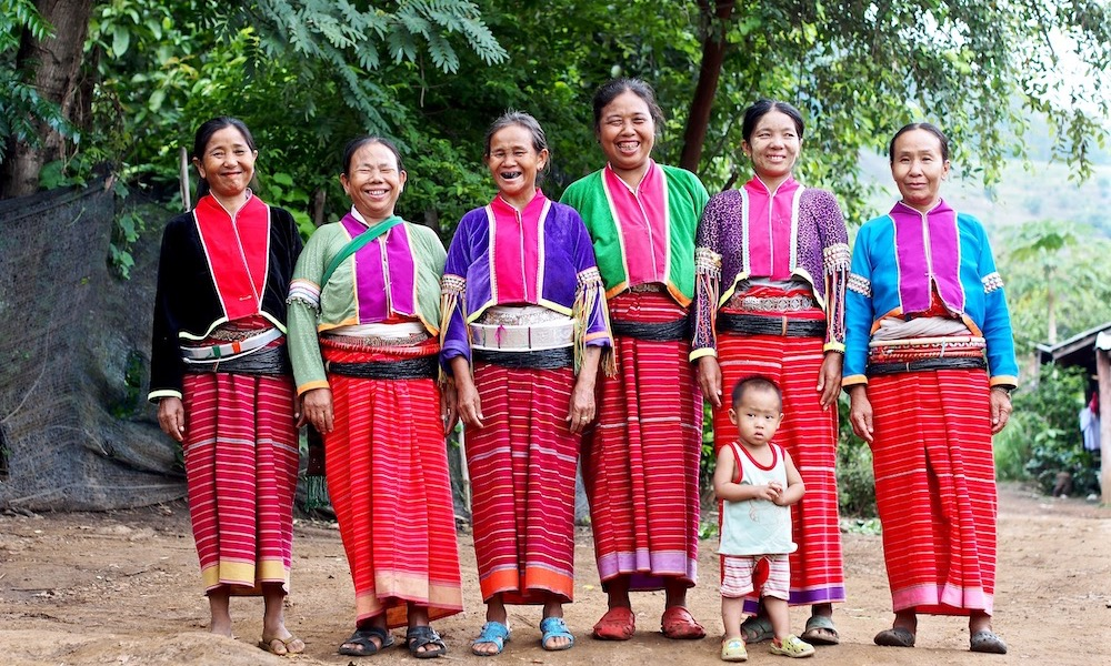 Chiang Dao Group of Palong women and child Palong Hill Tribe