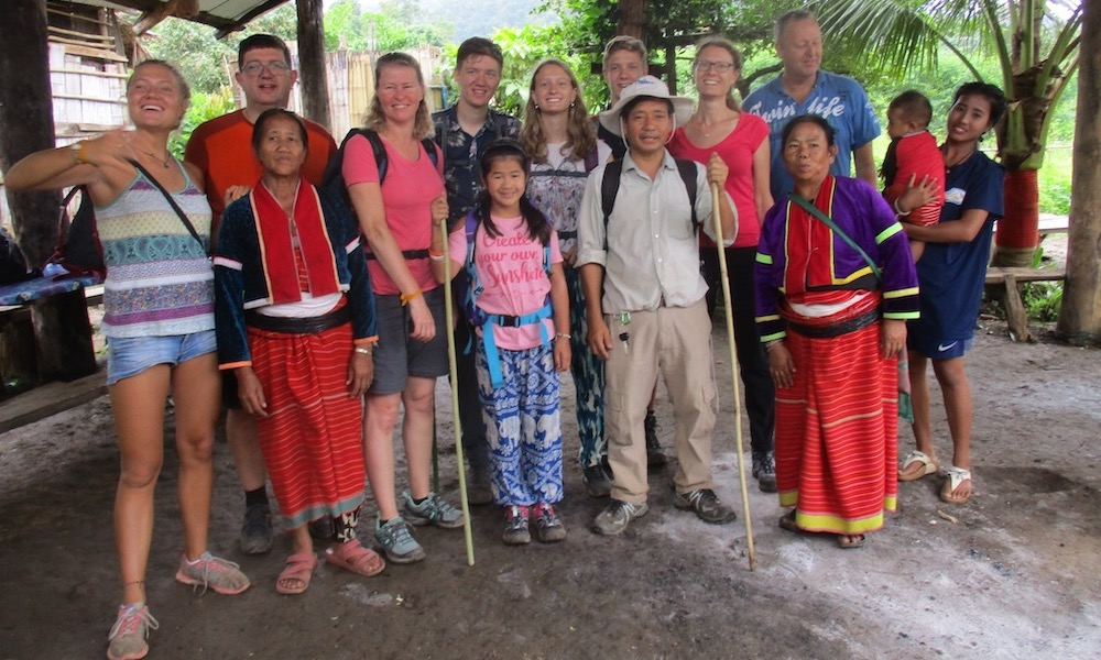 Groups and local people in Chiang Dao on a family trekking
