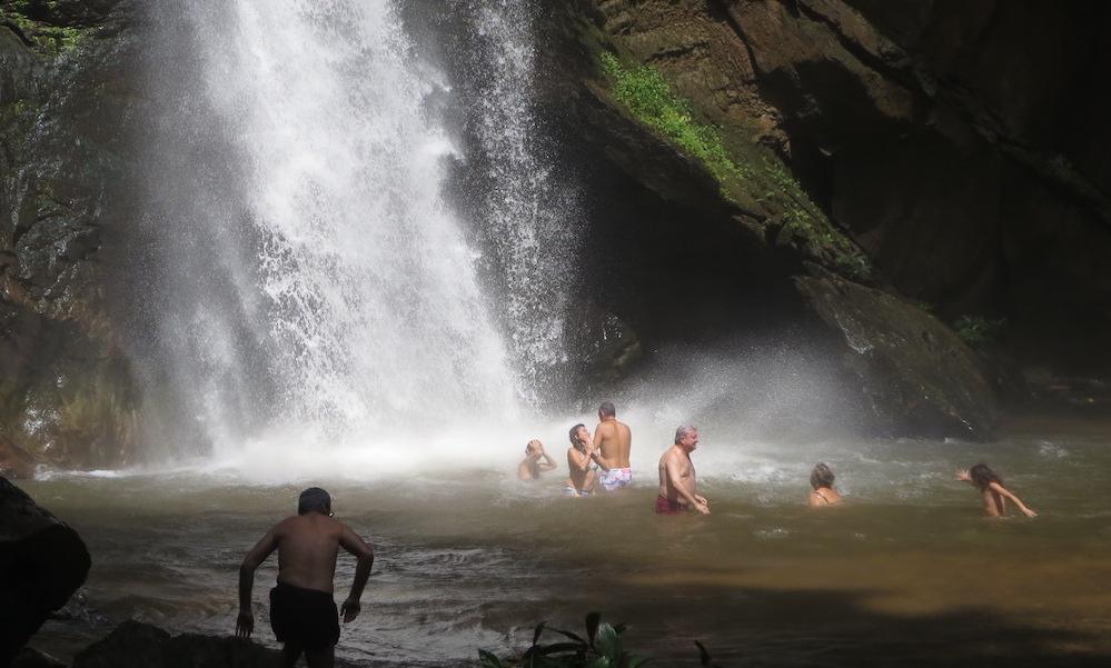 Tourists at Mork Fah Waterfall Huai Nam Dang National Park