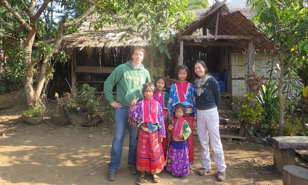 Palong kids with visitors Chiang Dao