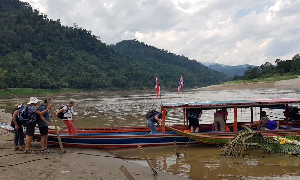 boarding local boat on Salawin River Sop Moei