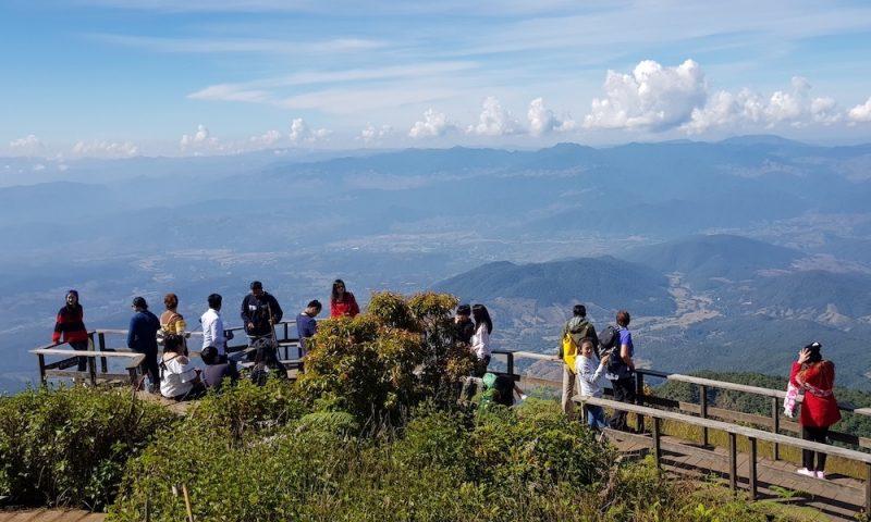 Tourists on Doi Inthanon view deck