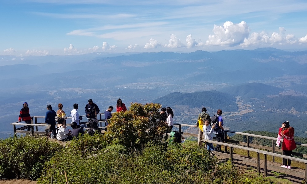 Tourists on Doi Inthanon view deck