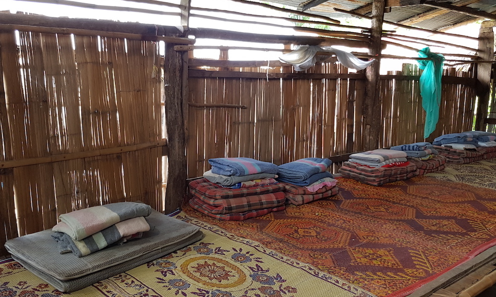 pillows, blankets and matresses for overnight Palong Village
