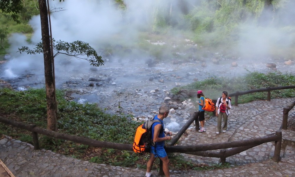 Tourists at Pong Duad Hot Springs