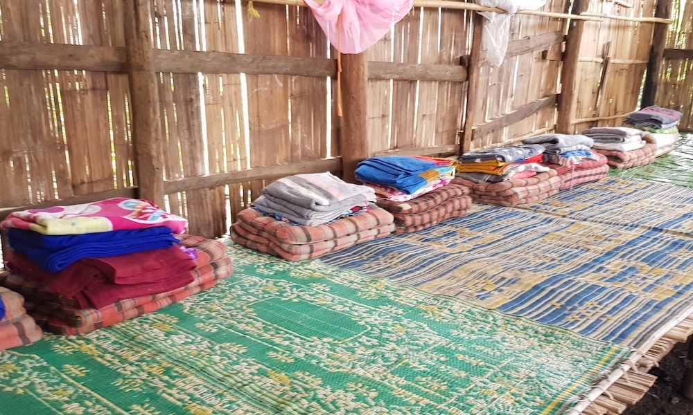 Pillows and mattresses Sleeping in a village