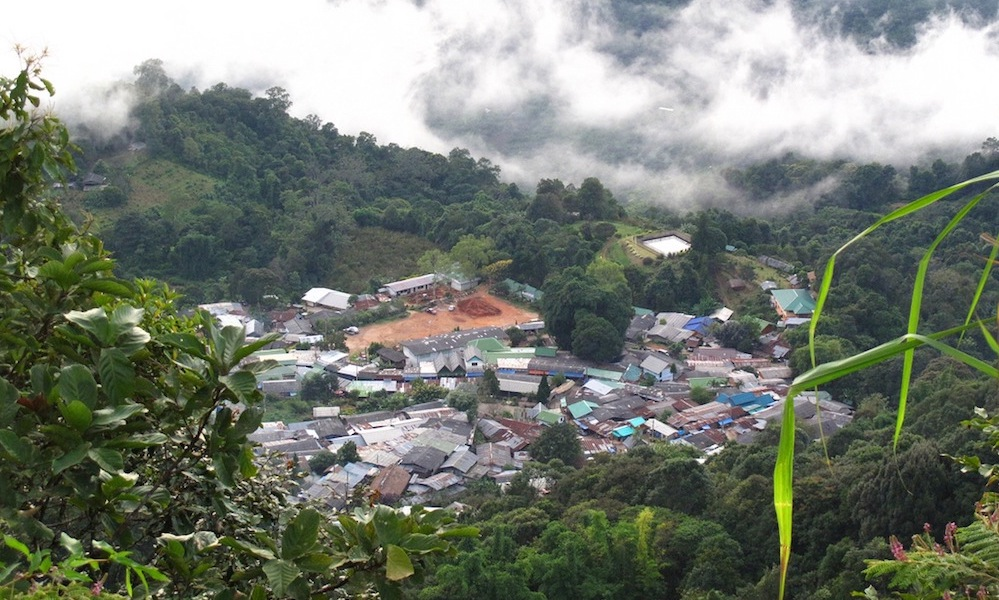 Hmong village Doi Pui Chiang Mai view with clouds