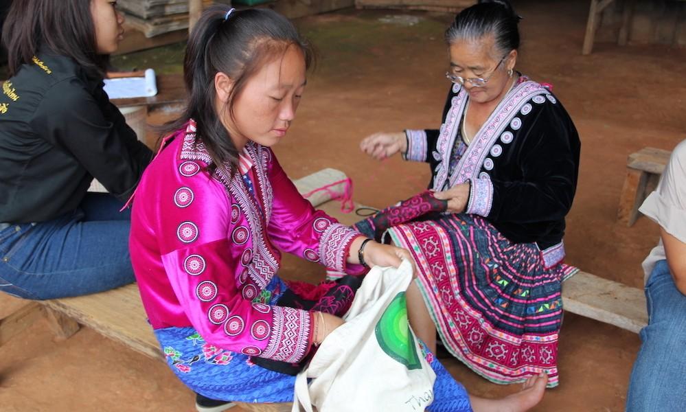 Hmong women Ban Mae Sa Mai working on textiles Best Doi Suthep Trail Hmong Experience