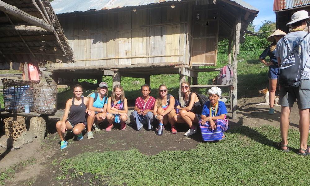 Trekking group with Karen villagers