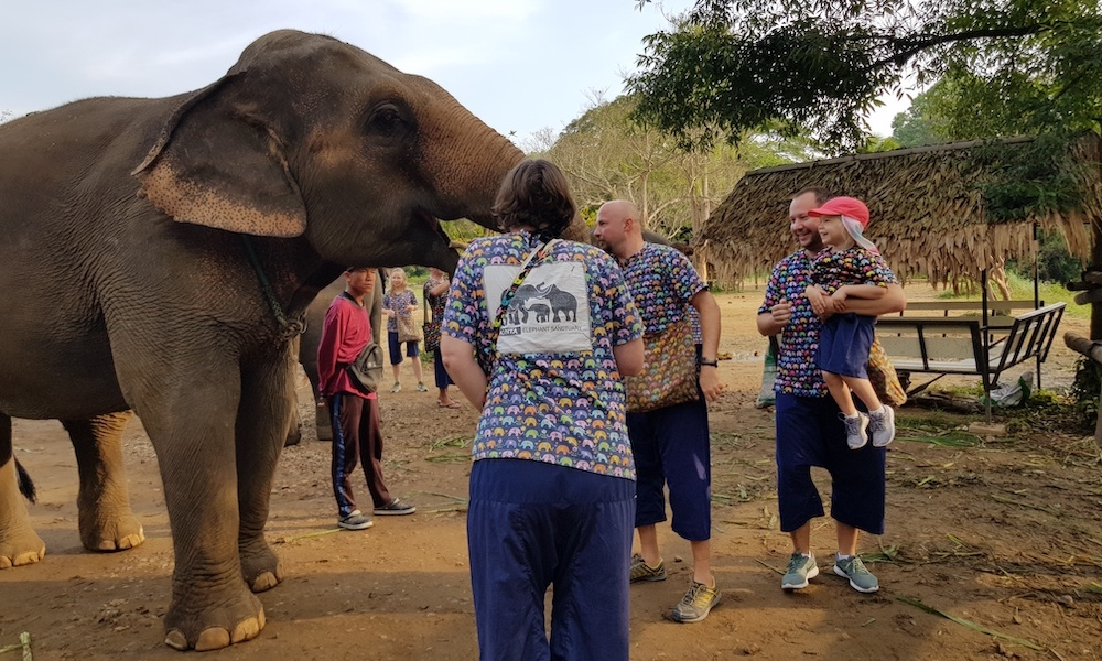 Elephant and child at Kantha Elephant Camp Bamboo rafting