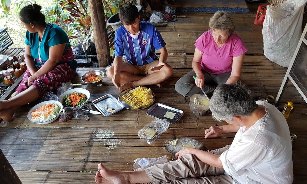 Helping cooking homestay