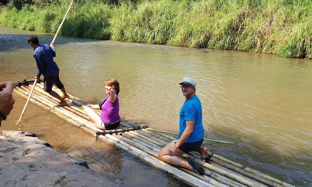 bamboo rafting two guests