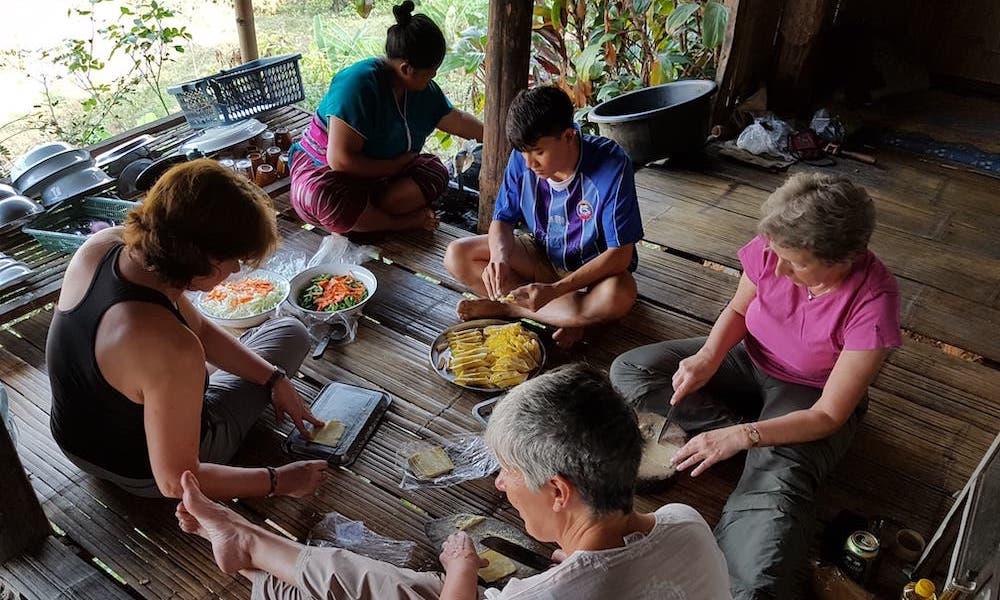 Dinner preparation Huay Khao Lip