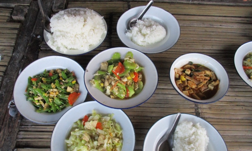 Dinner during trekking Mae Wang