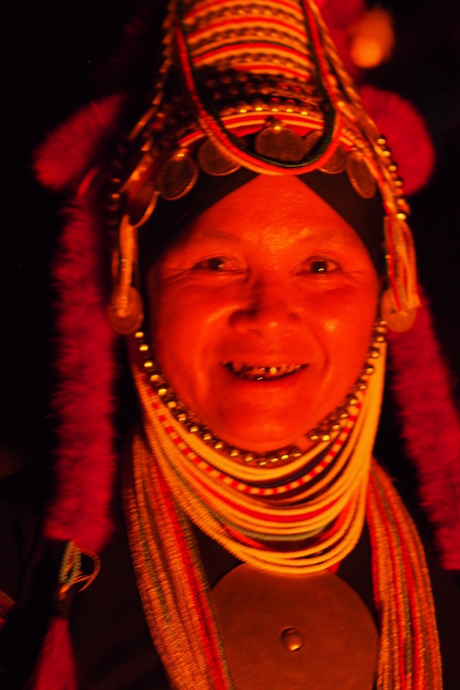 Woman in Ban Apha at night