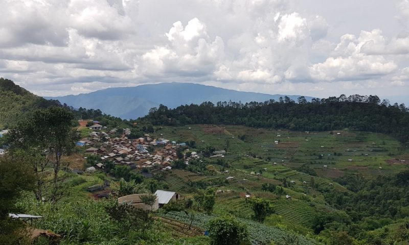 Overview of village in the mountains