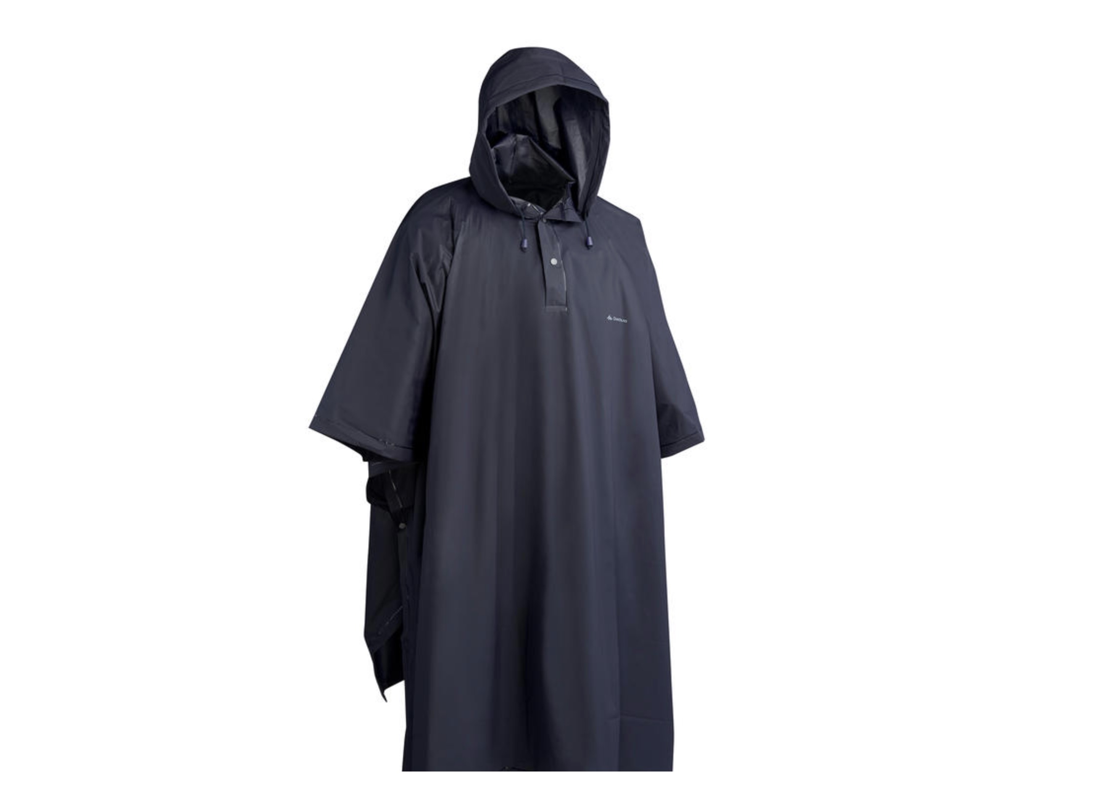 Dark poncho. Trekking shoes